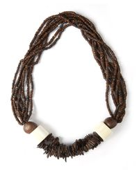 Eskandar - Brown Carved Coconut Beaded Necklace - Lyst