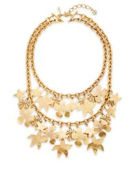Oscar de la Renta | Metallic Seashell Two-row Necklace/goldtone | Lyst