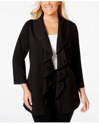 Calvin Klein | Black Plus Size Open-front Ruffle Jacket | Lyst