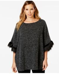 Style & Co. | Gray Plus Size Faux-fur Trim Poncho, Only At Macy's | Lyst