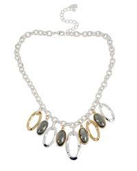 Robert Lee Morris - Gray Twotone Oval Bead Shaky Frontal Necklace - Lyst