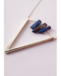 Missguided - Metallic Purple Crystal Triangle Necklace - Lyst