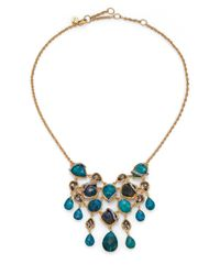 Alexis Bittar | Blue Elements Gilded Muse Chrysocolla & Crystal Bib Necklace | Lyst