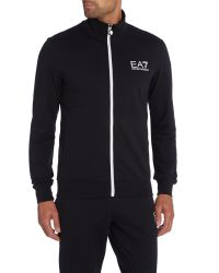 EA7 - Black Plain Funnel Neck Zip Fastening Tracksuit for Men - Lyst