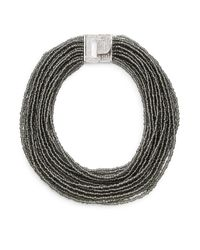 Saks Fifth Avenue | Draped Beaded Statement Necklace/black & Silvertone | Lyst