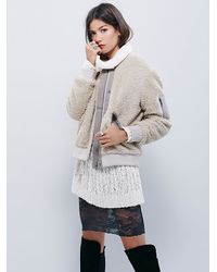 Free People - Natural Womens Teddy Aviator Jacket - Lyst