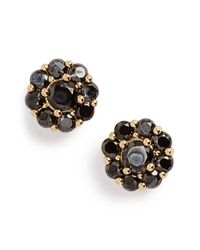 kate spade new york | Black Crystal Flower Stud Earrings - Jet | Lyst