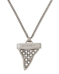 Givenchy | Metallic Gunmetal Shark Tooth Necklace With Pearls | Lyst