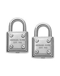 Michael Kors - Metallic Silvertone Logo Padlock Stud Earrings - Lyst