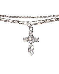 Emanuele Bicocchi - Metallic Silver Necklace With Swarovski Cross - Lyst