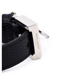 Saint Laurent - Black Logo Charm Bracelet - Lyst