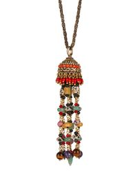 Etro | Metallic Multi-Stone Tasselled Brass Necklace | Lyst