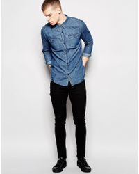 Grain Denim | Blue Mid Wash Shirt for Men | Lyst