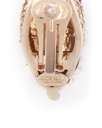 Roberto Cavalli - White Swarovski Embellished Clip-On Tear Drop Earrings - Lyst