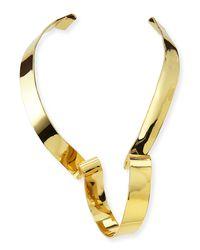 Alexis Bittar - Metallic Large Golden Ribbon Collar Necklace - Lyst
