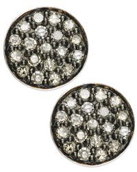 Macy's - Metallic Champagne Diamond Stud Earrings In Sterling Silver (1/4 Ct. T.W.) - Lyst