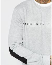 Criminal Damage | Gray Sweatshirt With Block Print for Men | Lyst