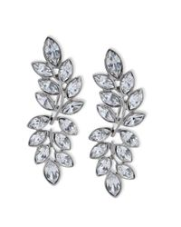 Kenneth Jay Lane | Metallic Silver Finish Crystal Clip Earring | Lyst