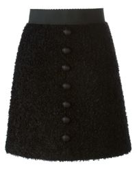 Dolce & Gabbana | Black Button Detail A-Line Skirt | Lyst