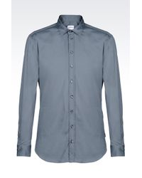 Armani | Gray Slim Fit Shirt In Stretch Poplin for Men | Lyst