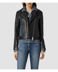 AllSaints - Black Frame Leather Biker Jacket - Lyst