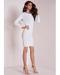 Missguided | Lace Up Side Mini Dress White | Lyst