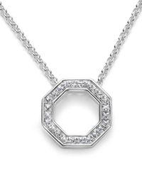Slane | Pavé White Sapphire Octagon Pendant Necklace | Lyst