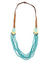 Panacea | Blue Beaded Multistrand Necklace - Turquoise | Lyst