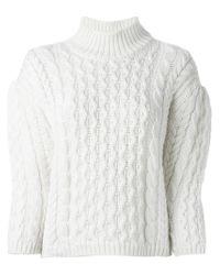 Simone Rocha | Natural Chunky Cable Knit Sweater | Lyst