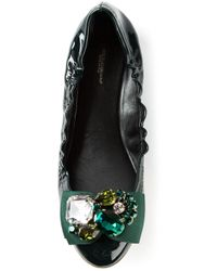 Dolce & Gabbana - Green Elasticated Ballerinas - Lyst