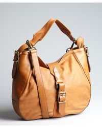 Burberry - Brown Caramel Leather and Canvas Buckle Shoulder Bag - Lyst