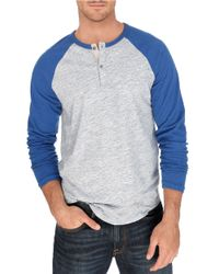 Lucky Brand | Gray Raglan Henley Tee for Men | Lyst