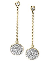 Michael Kors | Metallic Crystal Pavé Disc Chain Drop Earrings | Lyst