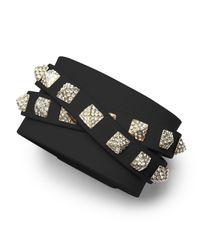 Valentino | Black Rockstud Multi-Strand Crystal-Stud Leather Bracelet | Lyst