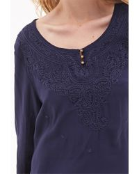 Forever 21 - Blue Embroidered Peasant Top - Lyst