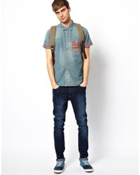 Native Youth - Blue Denim Shirt with Aztec Pocket for Men - Lyst