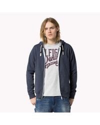 Tommy Hilfiger | Blue Cotton Blend Zip Through Sweater for Men | Lyst