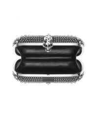 Alexander McQueen   Black Britannia Skull-Embellished Leather Clutch   Lyst