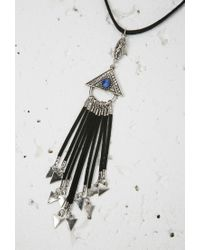 Forever 21 - Black Triangle Fringe Pendant Necklace - Lyst