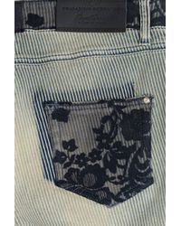 Ermanno Scervino - Blue Skinny Jeans With Embroidery - Stripes - Lyst