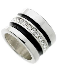 Guess - Metallic Silver-tone Crystal And Black Enamel Band - Lyst
