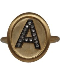 Annoushka | Metallic Gold Diamond Letter A Alphabet Ring | Lyst