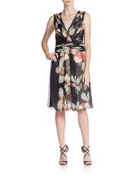 Carolina Herrera - Pink Magnolia Shirred Silk Dress - Lyst
