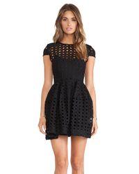 Nicholas - Black Circle Lace Cap Sleeve Dress - Lyst
