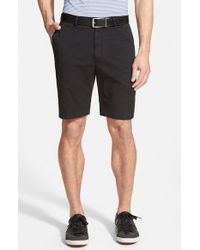 Bobby Jones | Black Stretch Cotton Flat Front Shorts for Men | Lyst