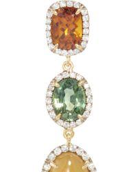Pamela Huizenga - Multicolor 18K Gold Earrings With Hydrogrossular Garnet, Green Sapphires, Grandite Mali Garnet, And Diamonds - Lyst