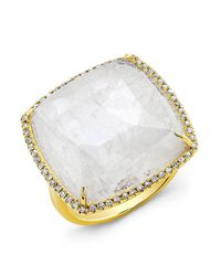 Anne Sisteron | Metallic 14kt Yellow Gold Moonstone Diamond Cushion Cut Cocktail Ring | Lyst