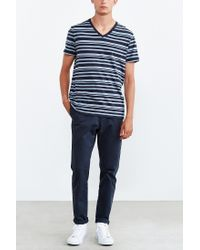 BDG - Blue Vale Heather Stripe Standard-fit V-neck Tee for Men - Lyst
