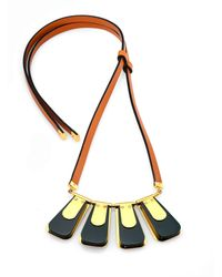 Marni | Green Leather & Metal Pendant Necklace | Lyst
