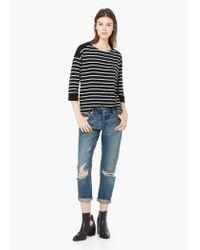 Mango - Black Striped Cotton-blend Sweater - Lyst